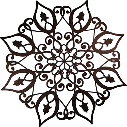 Oversized Round Metal Faux Finish Brown Taupe Laser Cut Wall Medallion