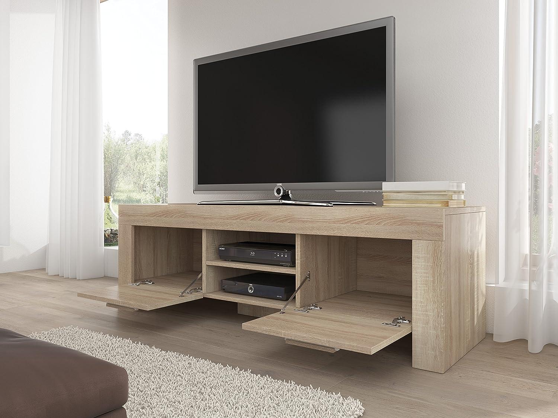TV Möbel Ständer Schrank Fernsehtisch Fernsehschrank Rome 160 Cm Licht  Eiche Sonoma: Amazon.de: Küche U0026 Haushalt