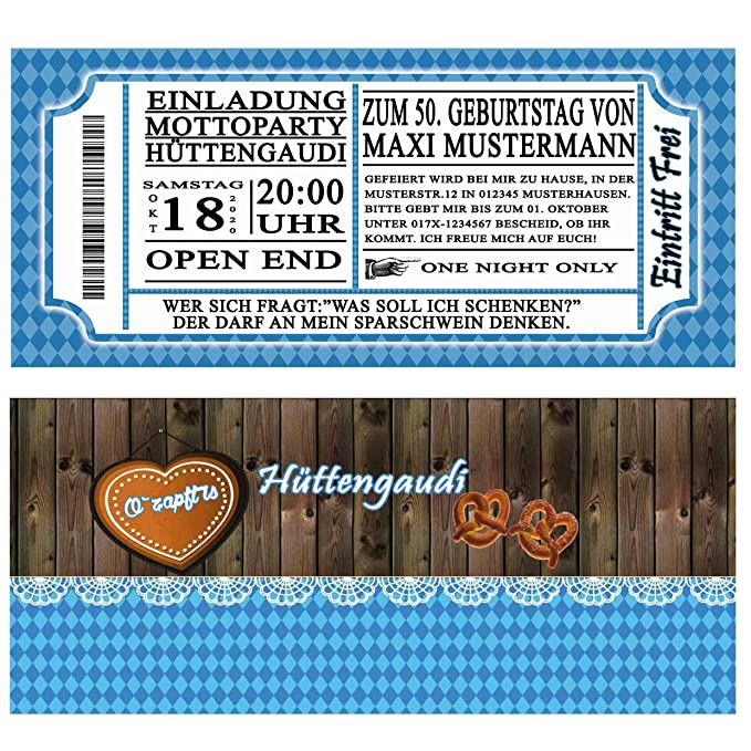Einladungskarten zum Geburtstag Oktoberfest 70 Stück bayrisch