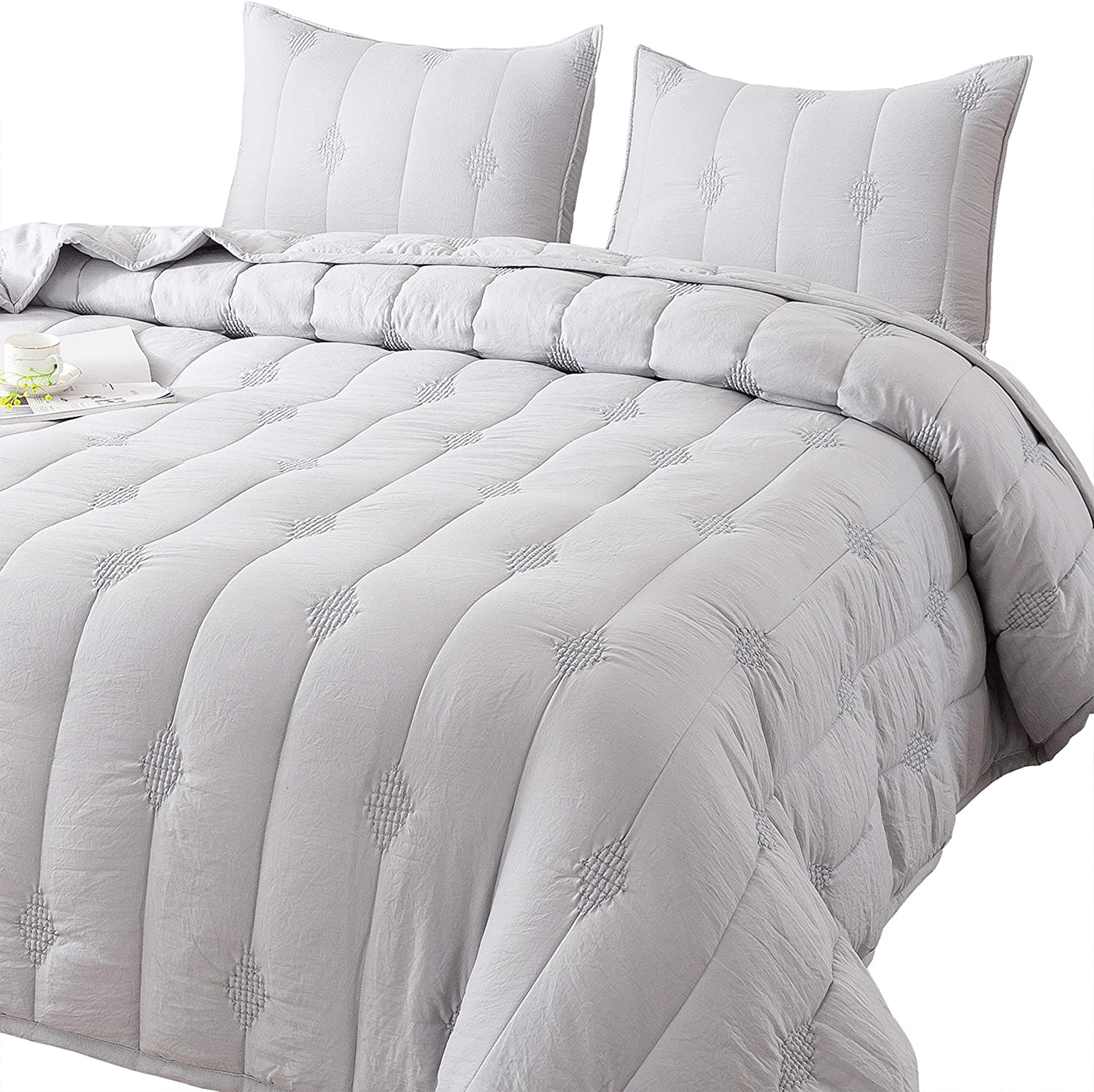 Light Grey, Twin Set Quilt Good for All Seasons. Allover Stitching and Embroidery ANNA.Z HOME Ethan Comforter Stone Washed Microfiber 3-Piece Set Quilt Queen and Twin Set in Solid Colors King