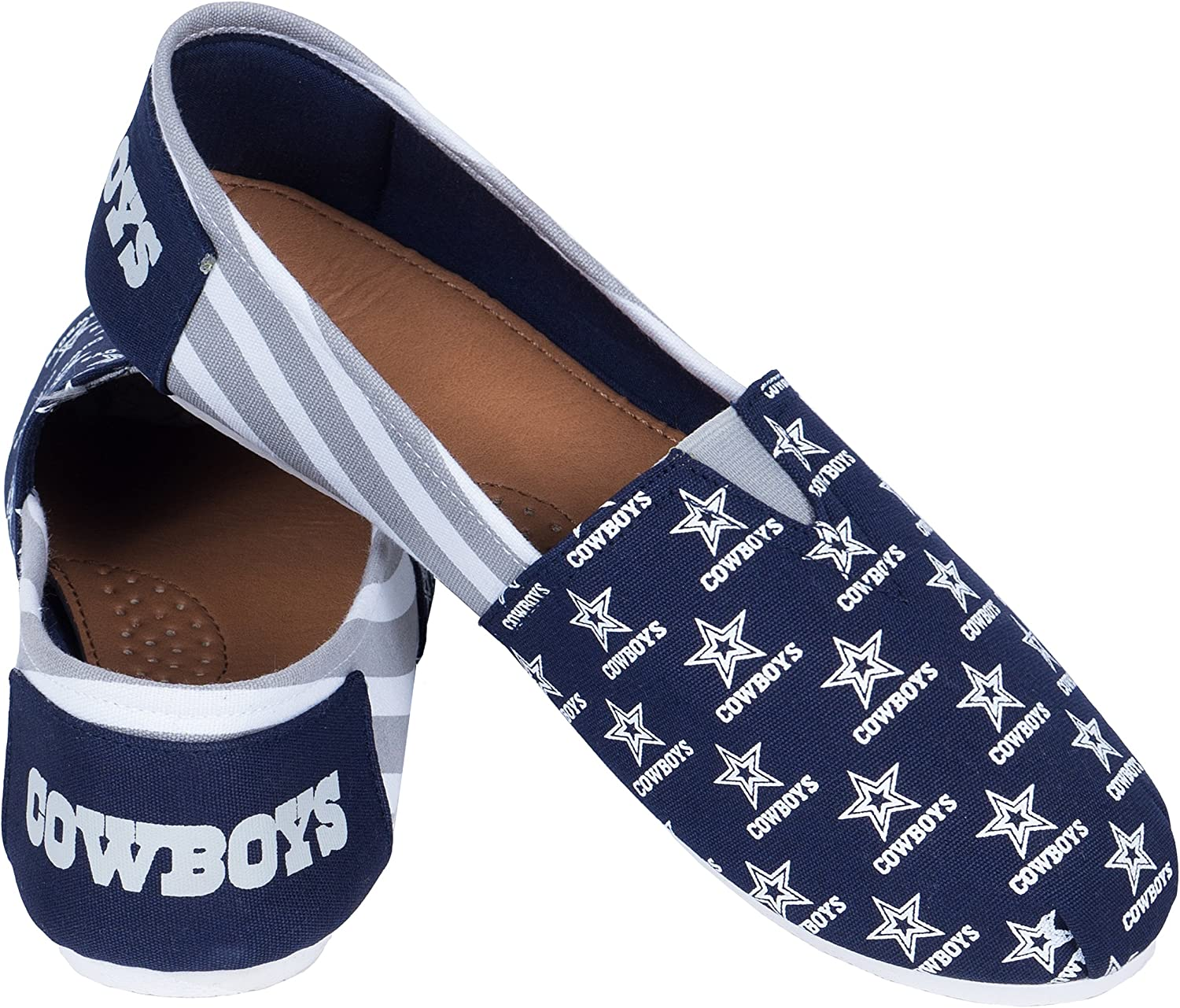 FOCO NFL Canvas Stripe Slip On Shoes : Clothing
