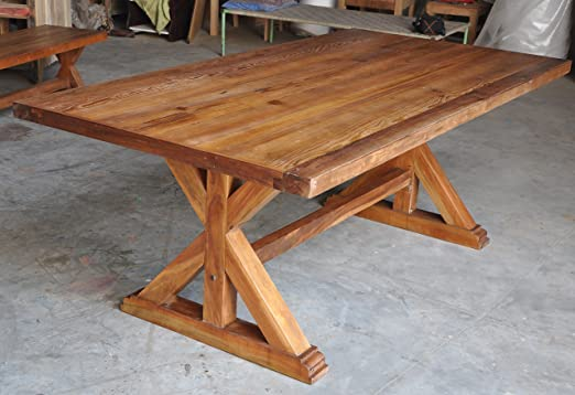 Mesa de comedor rústica maciza de madera reciclada, moderna y ...