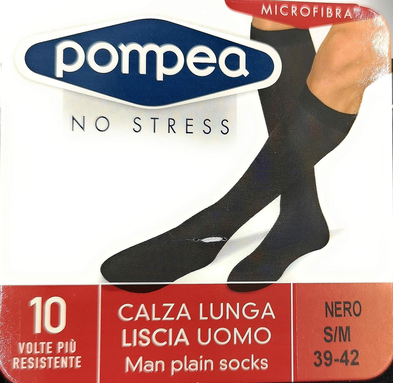nuove foto prestazione affidabile ultima vendita POMPEA Calza lunga liscia uomo Microfibra no stress 6 paia