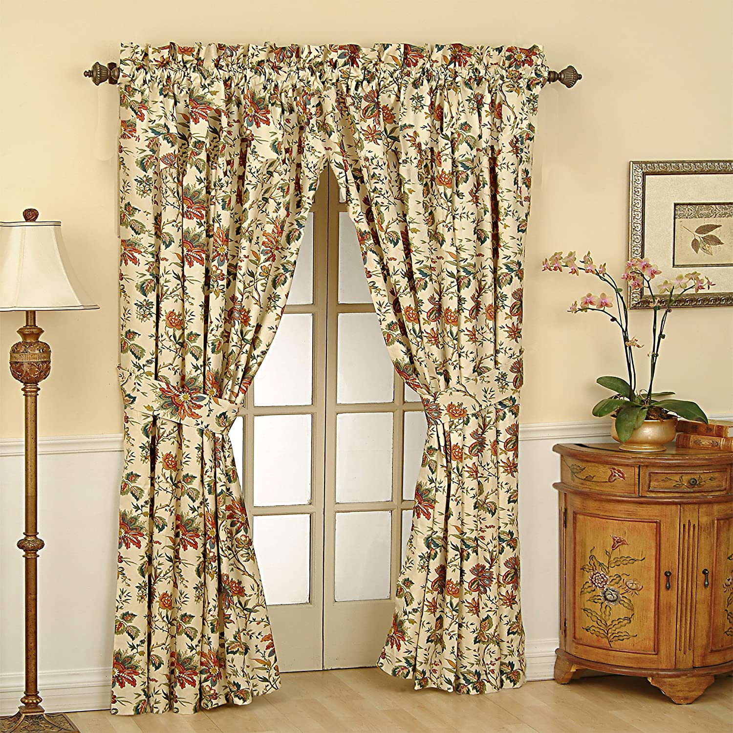 """WAVERLY Curtains for Bedroom - Felicite 50"""" x 84"""" Decorative Single Panel Rod Pocket Window Treatment Privacy Curtains for Living Room, Creme"""