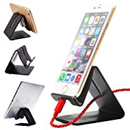 Honsky Solid Portable Universal Aluminum Desktop Charger Stand Smart Mobile Cell Phone Apple iPhone ipad iPad Mini iPod Touch Android Cellphone Tablet Holder for Desk Office Kitchen Home Travel, Black