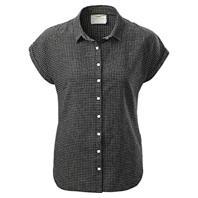28995acc18d7 Kathmandu Flaxton Womens Organic Cotton Hemp Regular Fit Short Sleeve Shirt  Women s Black Check 6