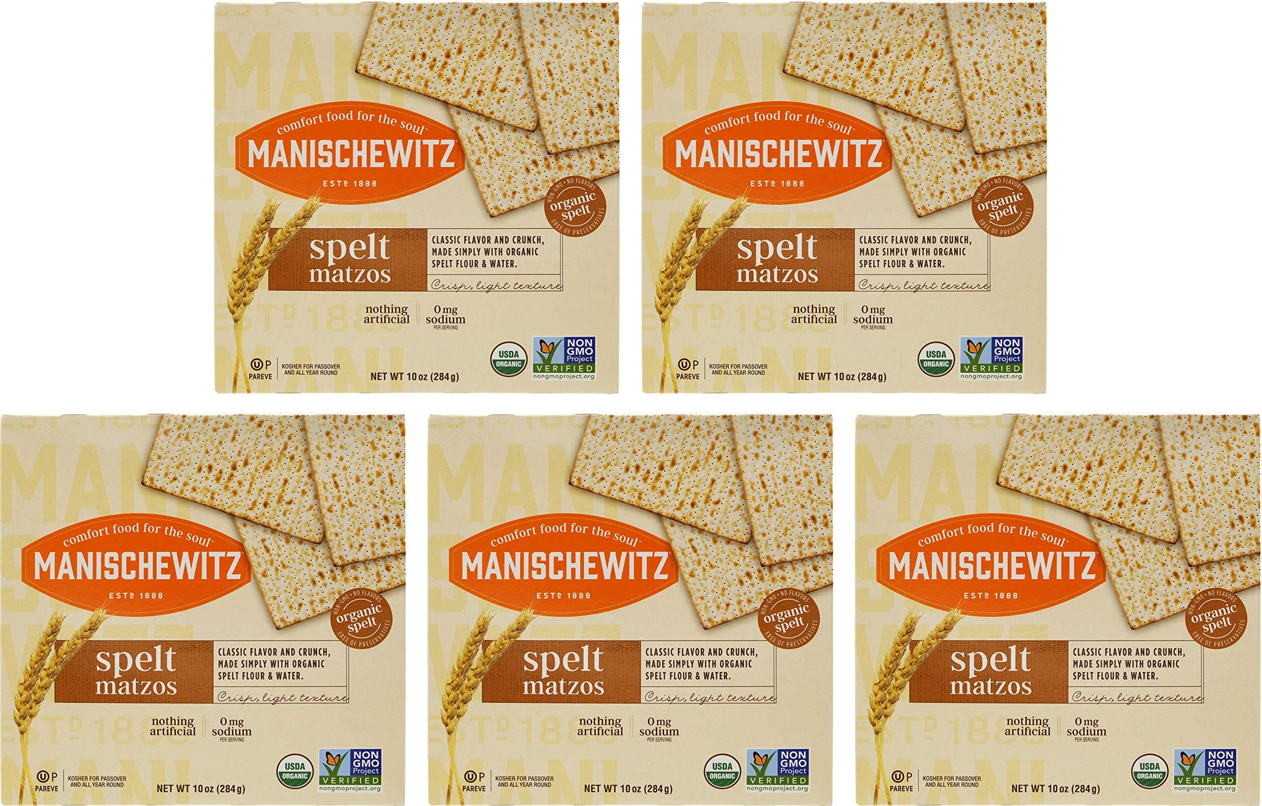 Manischewitz Organic Spelt Matzo Cracker Kosher For Passover, 10 Ounce (5-Pack)