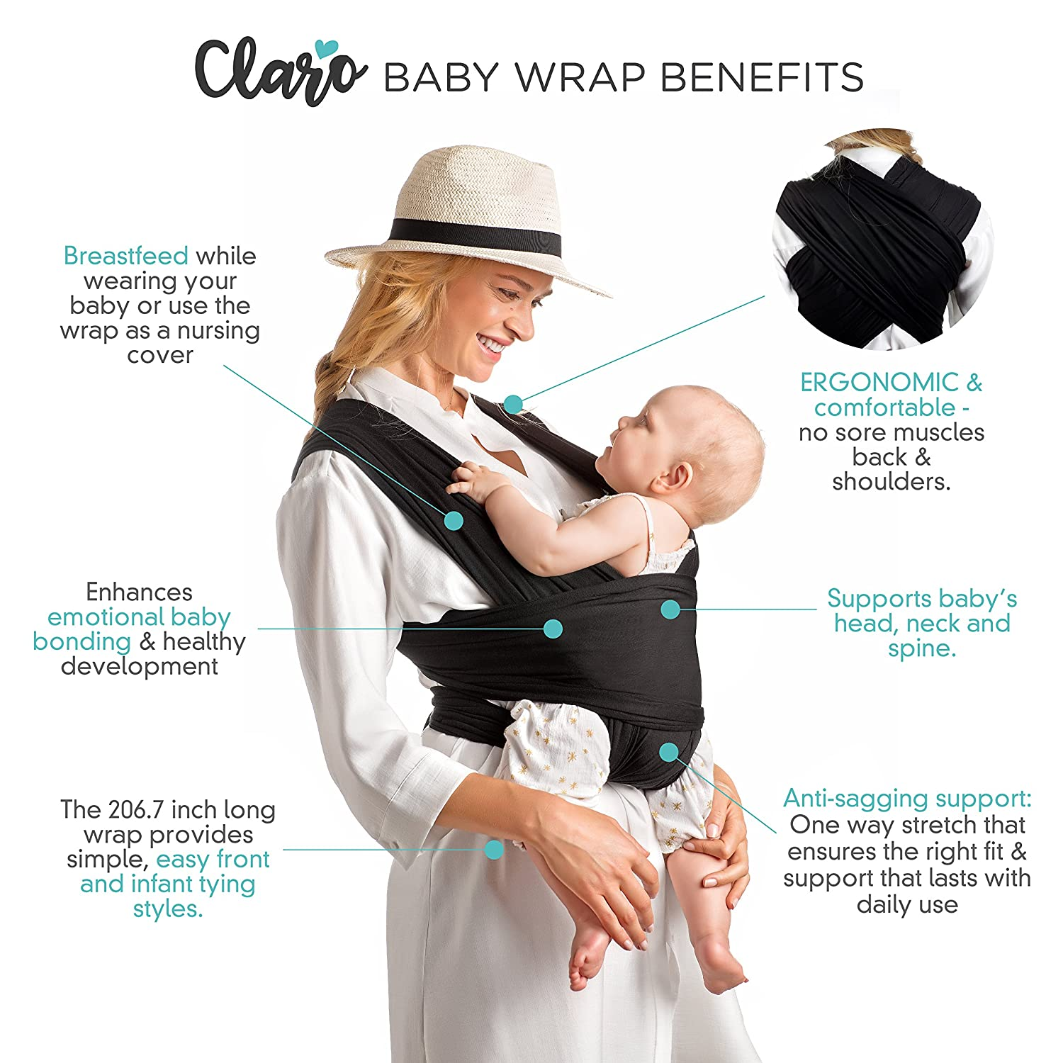 Baby Wrap Carrier Hands Free – Breathable Soft and Stretchy Baby Sling Carrier, Ergonomic, Safe Secure for Newborns, Babies Infants, No Back Pain, Good for Breastfeeding Black