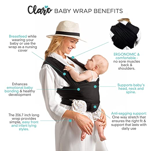 Amazon Com Baby Wrap Carrier Hands Free Breathable Soft And