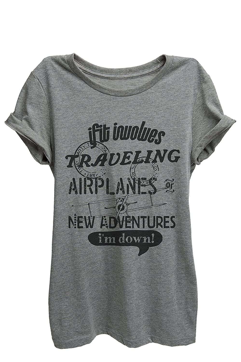 Thread Tank Traveling Airplanes Adventures Womens Relaxed T-Shirt Tee Heather Grey