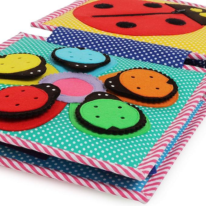 Jolly Designs Premium Handgefertigtes leises Buch f/ür den ganzen Tag weiches sensorisches Buch f/ür Kleinkinder und Kinder komplexes Filzbuch zum fr/ühen Lernen