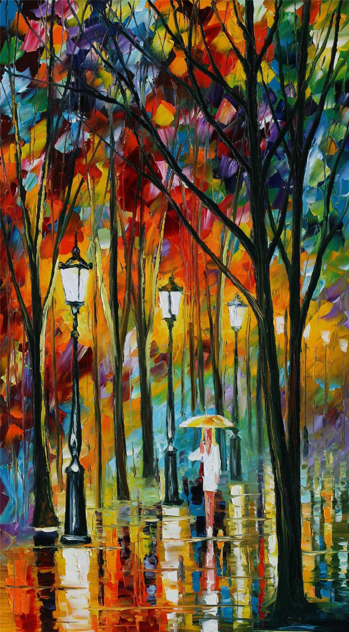 100% Hand Painted Oil Paintings Modern Abstract Oil Painting on Canvas Girl Walking in the Rain (vertical) Home Wall Decor (24X44 Inch, Oil Painting 7)