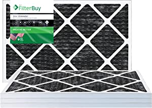 FilterBuy Allergen Odor Eliminator 14x24x1 MERV 8 Pleated AC Furnace Air Filter with Activated Carbon - Pack of 4-14x24x1