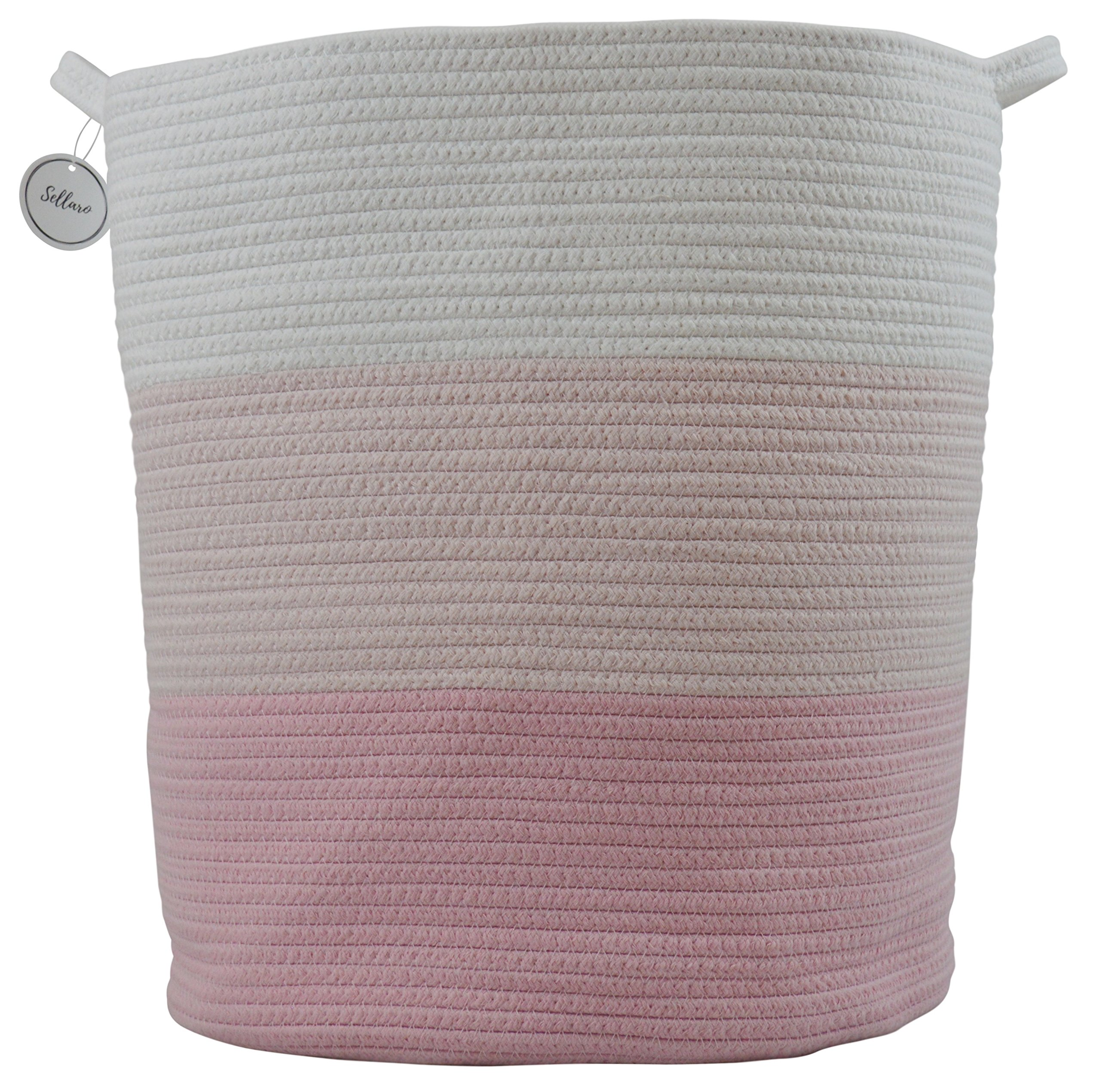 Cotton Rope Basket for Storage and Organization in Baby Nursery or Kids Room | Extra Large 18'' x 16'' Decorative Laundry Hamper, Organizer for Blankets, Towels, Toys, Books | Pink/White by Sellaro Home