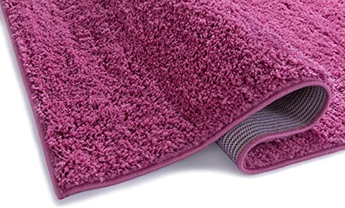 Well Woven Madison Modern Solid Plain Fuchsia Shag Thick Area Rug 7 10 Round