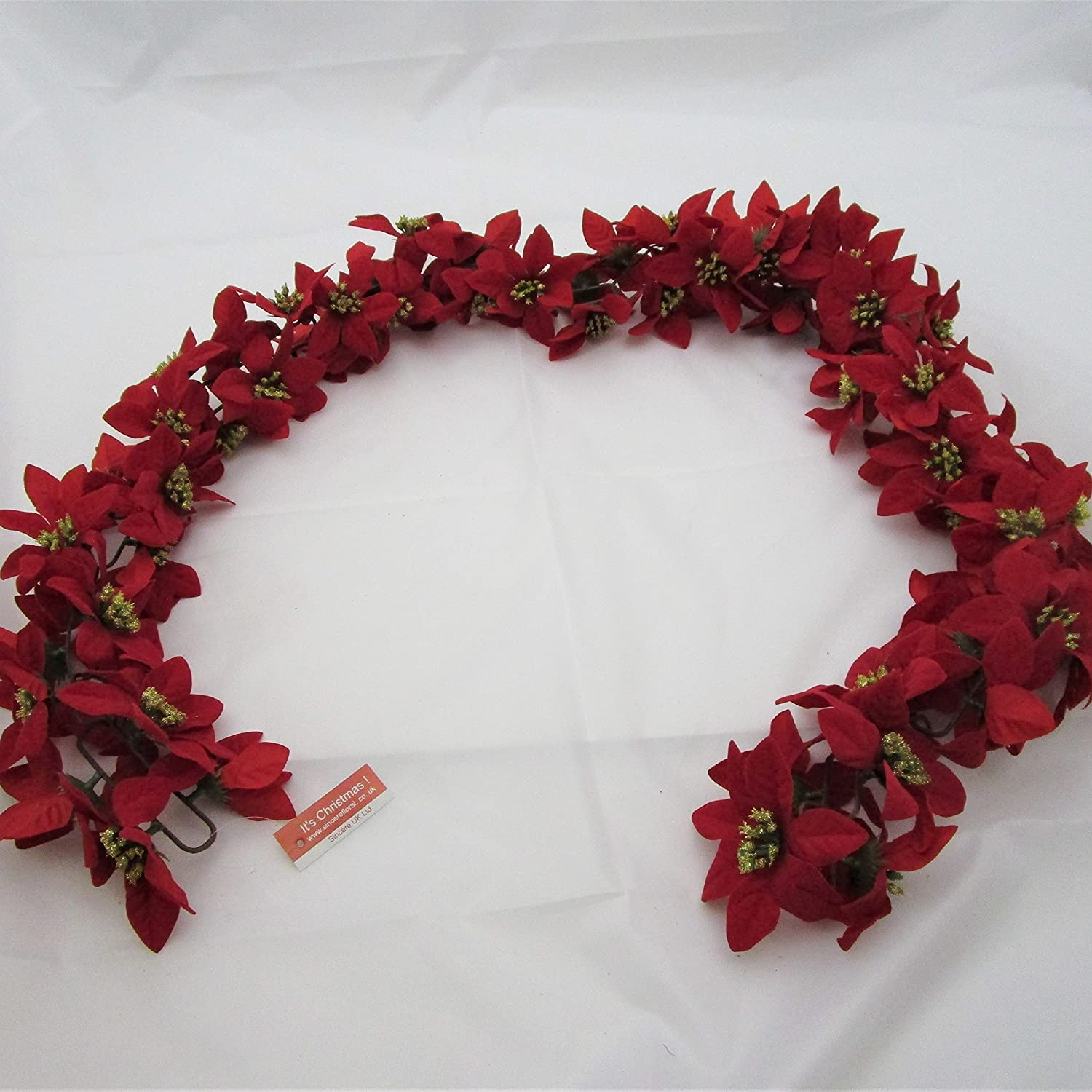180 Cm Full Thick Red Poinsettia Garland Christmas Fireplace Decoration