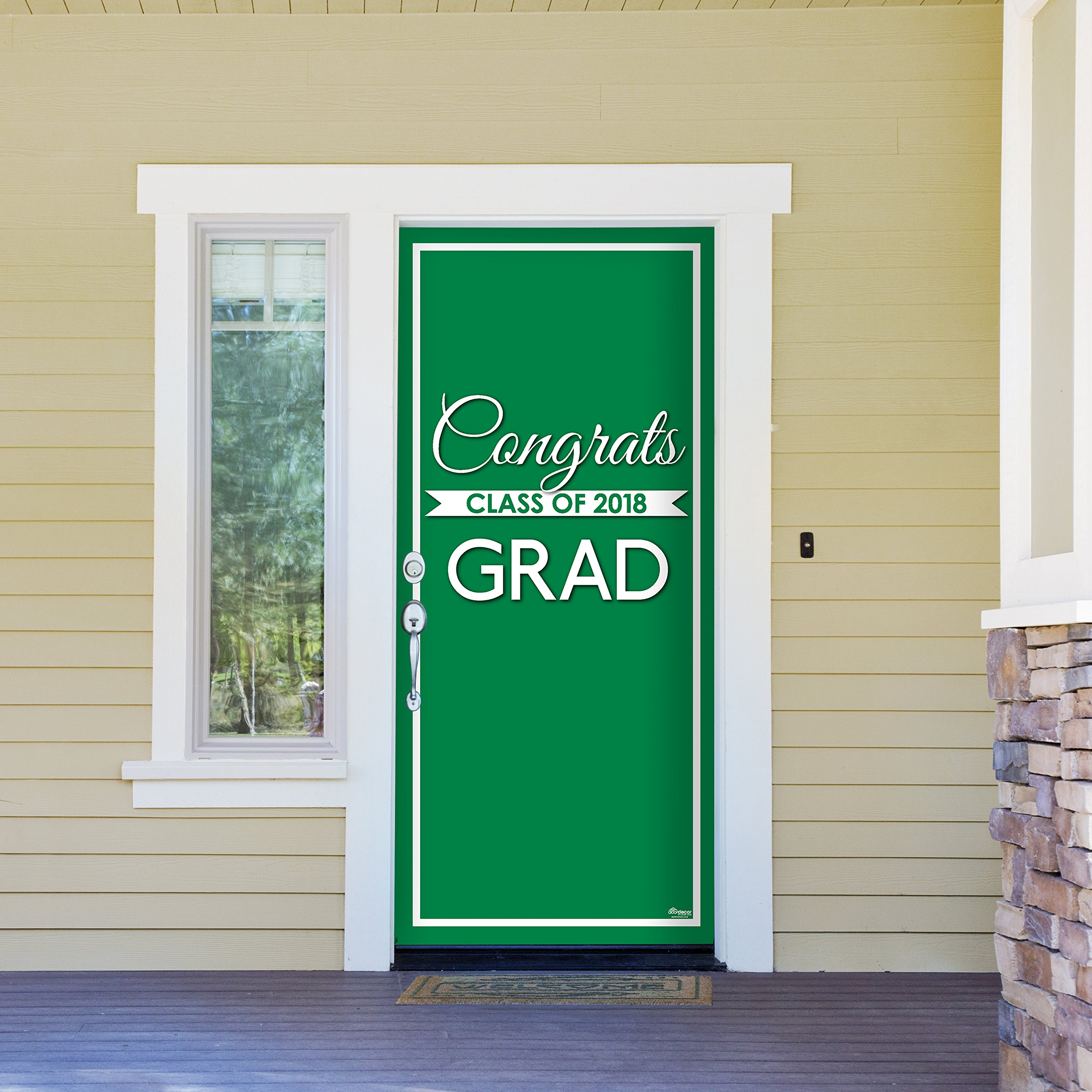 Victory Corps Class Banner Green - Outdoor GRADUATION Garage Door Banner Mural Sign Décor 36'' x 80'' One Size Fits All Front Door Car Garage -The Original Holiday Front Door Banner Decor