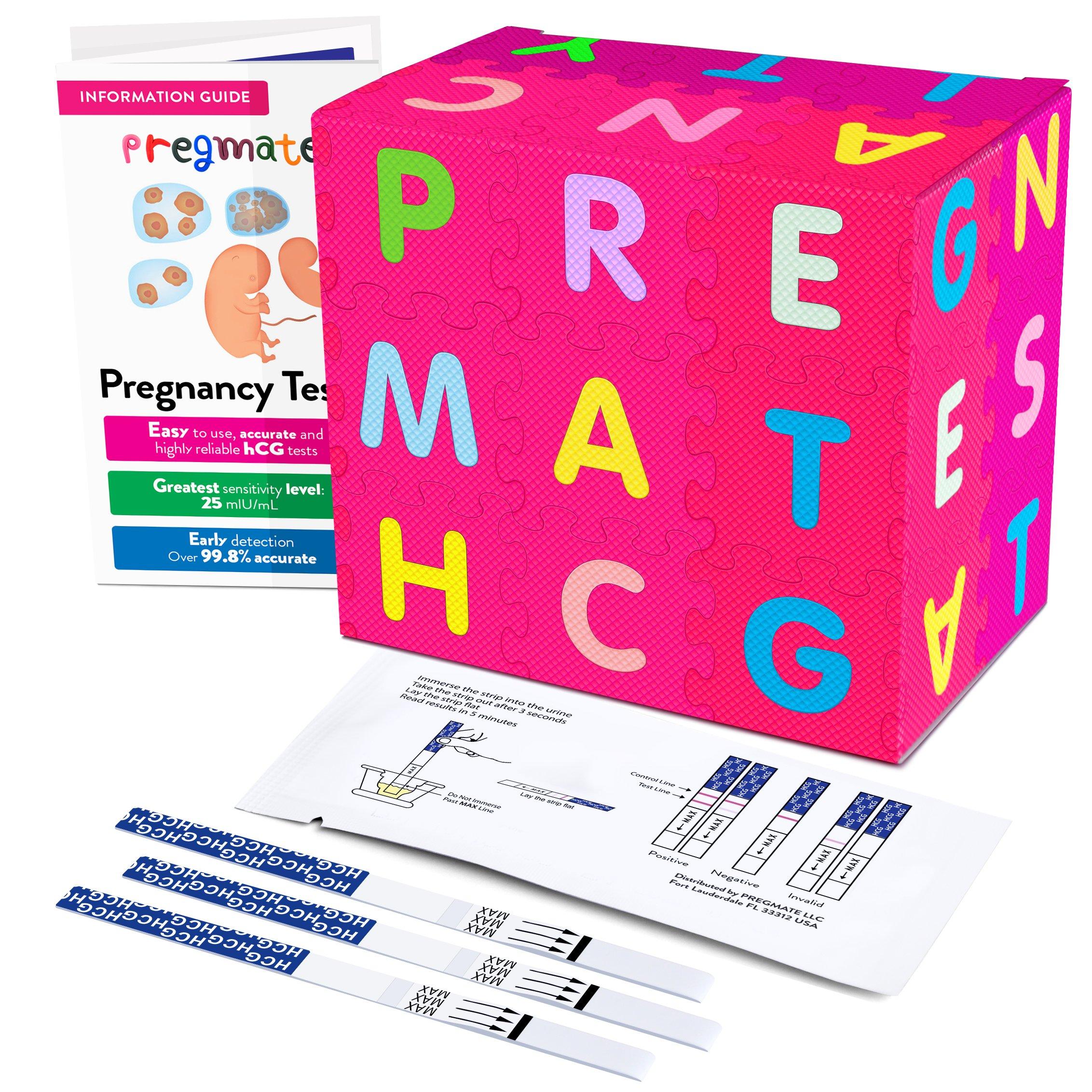 PREGMATE 50 Pregnancy HCG Test Strips One Step Urine Test Strip Combo Predictor Kit Pack (50 HCG)