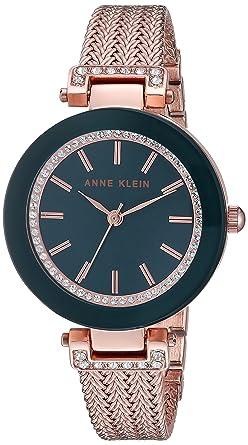 Anne Klein Women s Swarovski Crystal Accented Rose Gold-Tone Mesh Bracelet  Watch 44571c874c