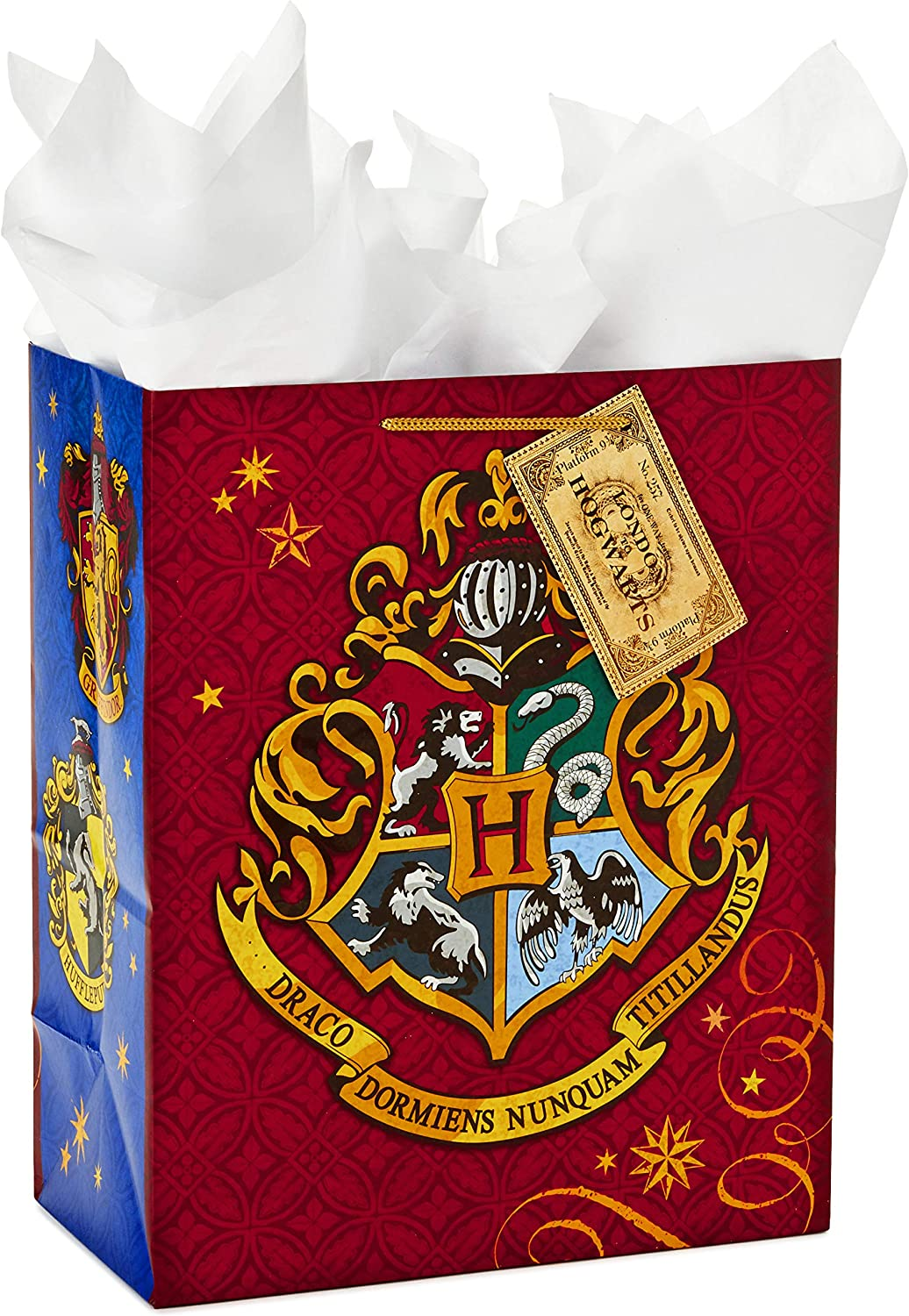 """Hallmark 13"""" Large Gift Bag with Tissue Paper (Harry Potter, Hogwarts Crest) for Birthdays, Graduations, Parties and More"""