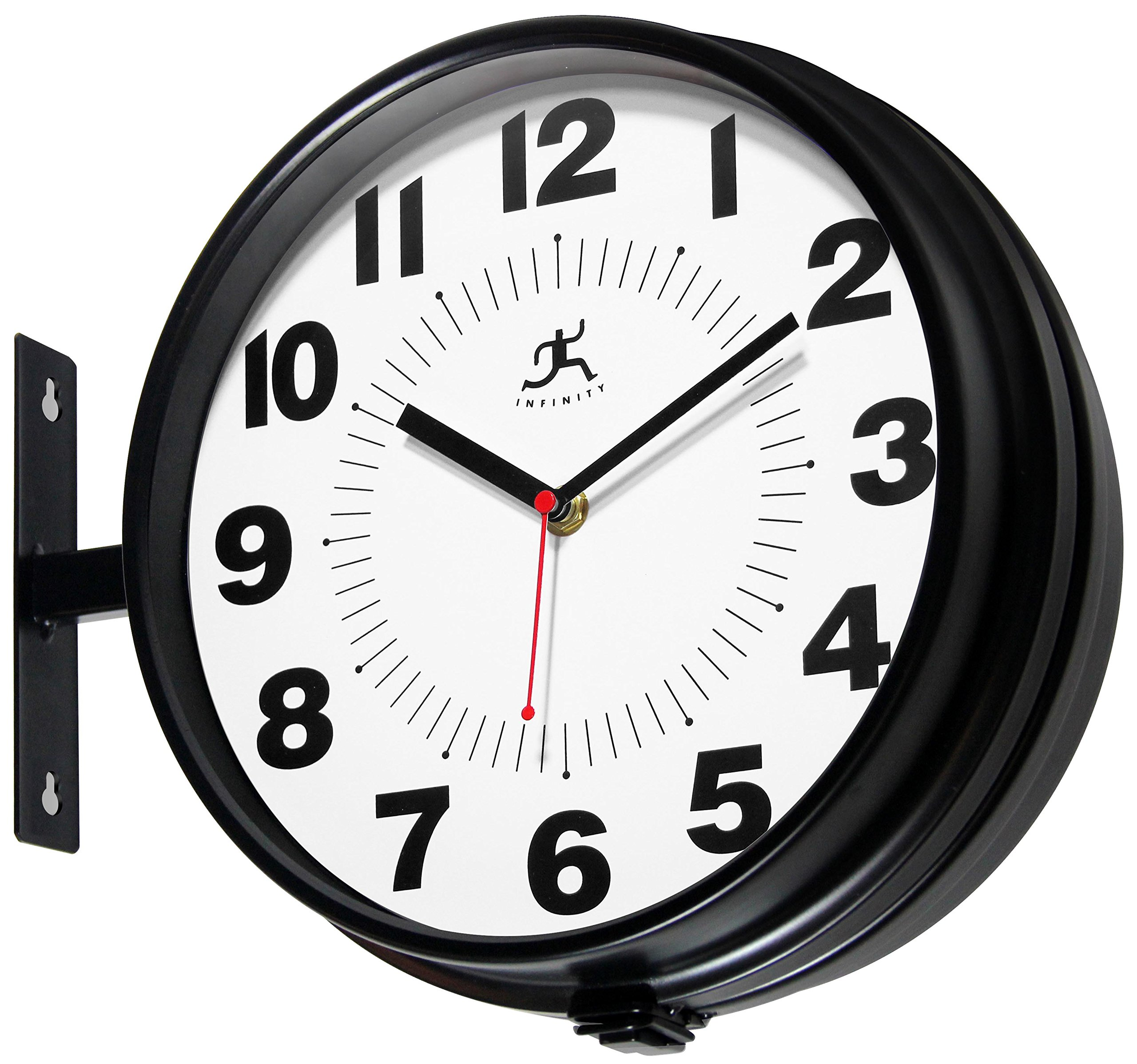 Infinity Instruments Hallway Clock, Black - 11Round, 13with Hanging bracket Adjustable dials for wall or Ceiling mounting Uses 2 AA batteries (not included) - wall-clocks, living-room-decor, living-room - 91kRTYZtozL -