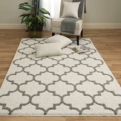 Amazon Mainstays Trellis 2 Color Shag Area Rug 5 x7 Cream