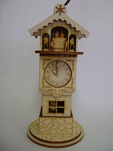 Clock Tower Wooden Ornanment Ginger Cottage
