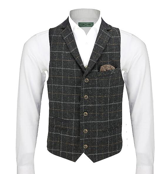 Amazon.com: Xposed Hombres Tweed traje de 3 piezas Blazer ...