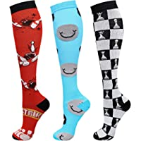 Compression Socks (3 Pairs) 15-20 mmHg is Best Athletic for Men & Women Running Flight Travel Pregnant (Red/White/Blue…
