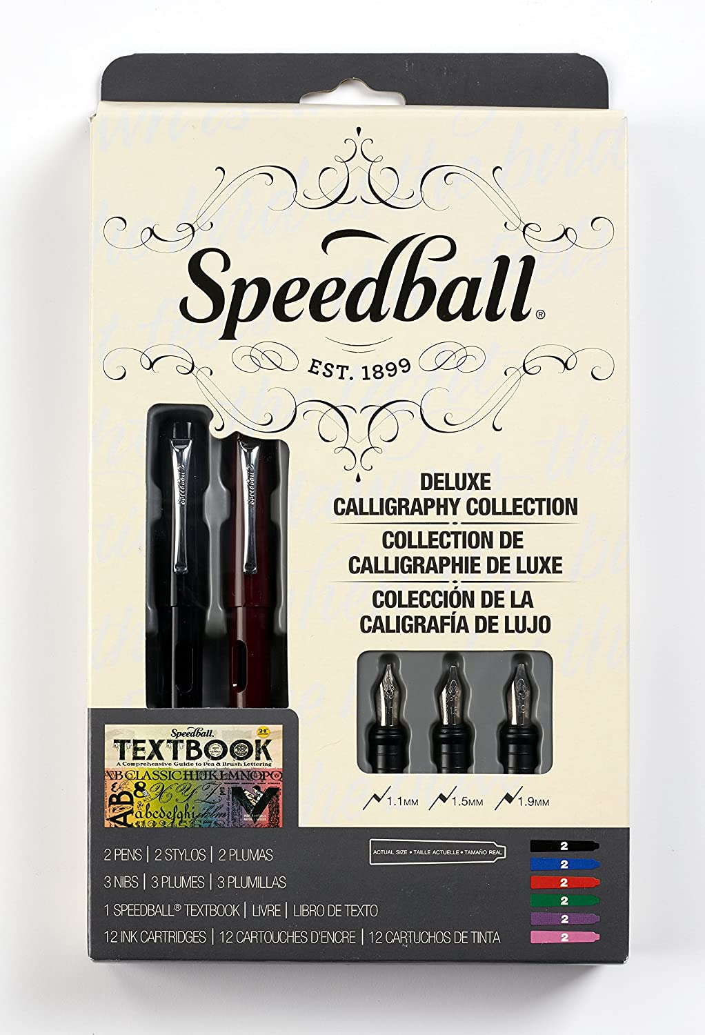 With 2 Pens Speedball 002904 Calligraphy Deluxe Fountain Pen Set Pen Set 3 Nibs and 12 Assorted Ink Cartridges