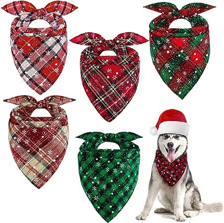 Cat Bandana Puppy Accessories Houndstooth Dog Bandana Plaid Pet Scarf Fall Bandana Green Bandana