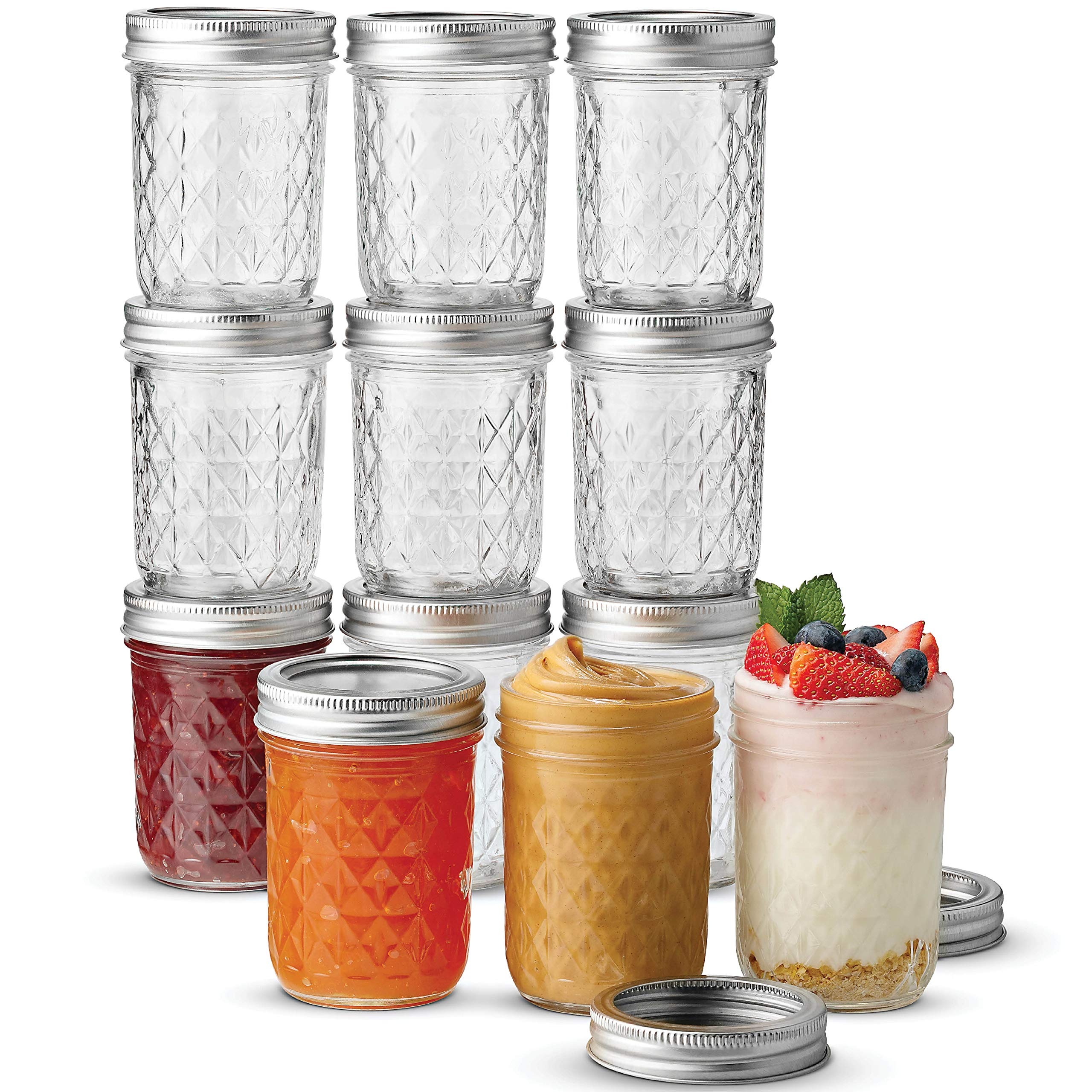 Ball Wide Mouth Mason Jars 8 oz, 12 Pack Canning Jelly Jars, With Wide Mouth Lids and Bands, For canning, Freezing, Fermenting, Pickling, Preserving - Microwave & Dishwasher Safe + SEWANTA Jar Opener