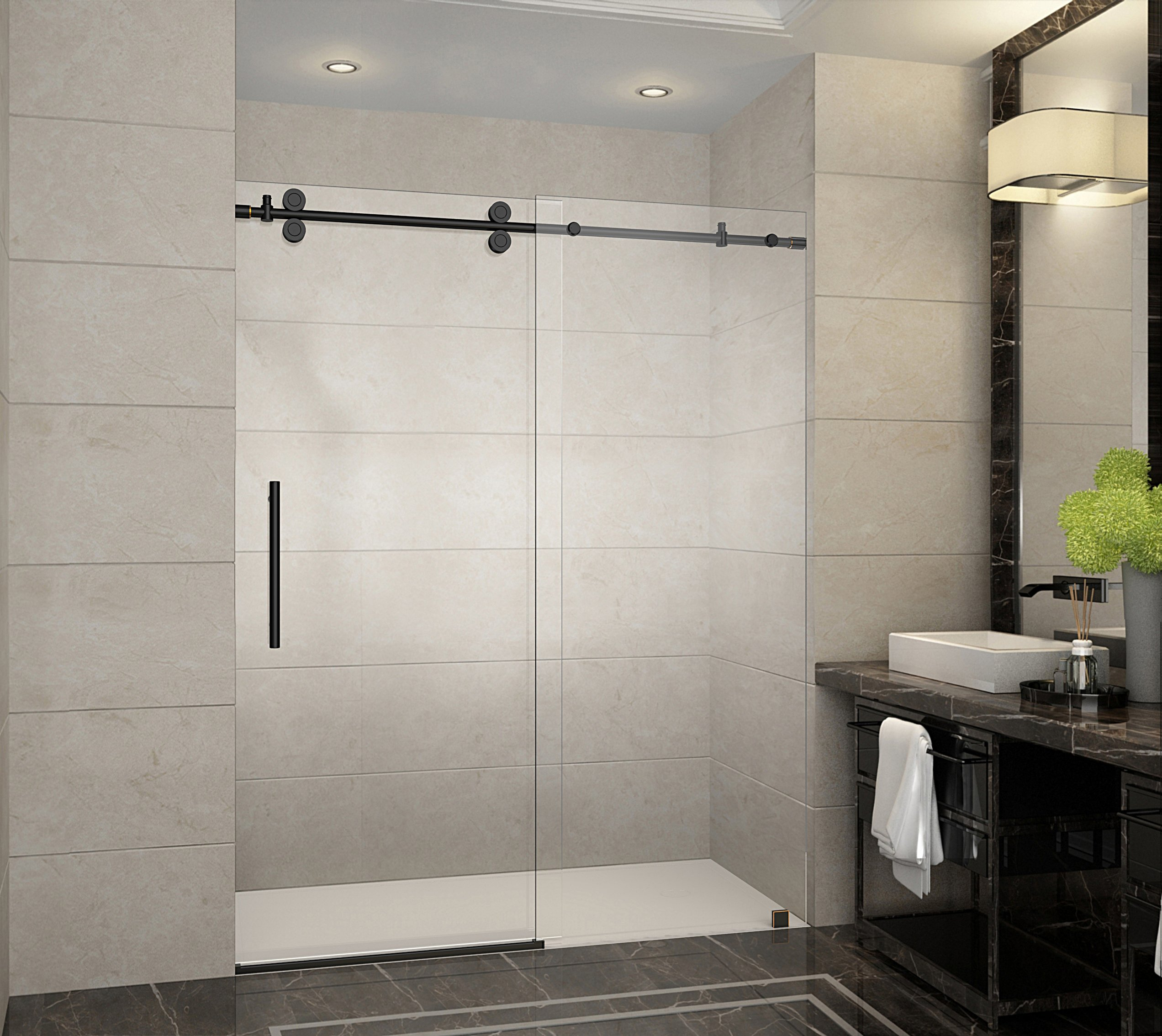 Aston SDR978-ORB-60-10 Langham x 75 in. Frameless Sliding Shower Door in Oil Rubbed Bronze with Handle Completely, 60'', Oil Rubbed Bronze Finish