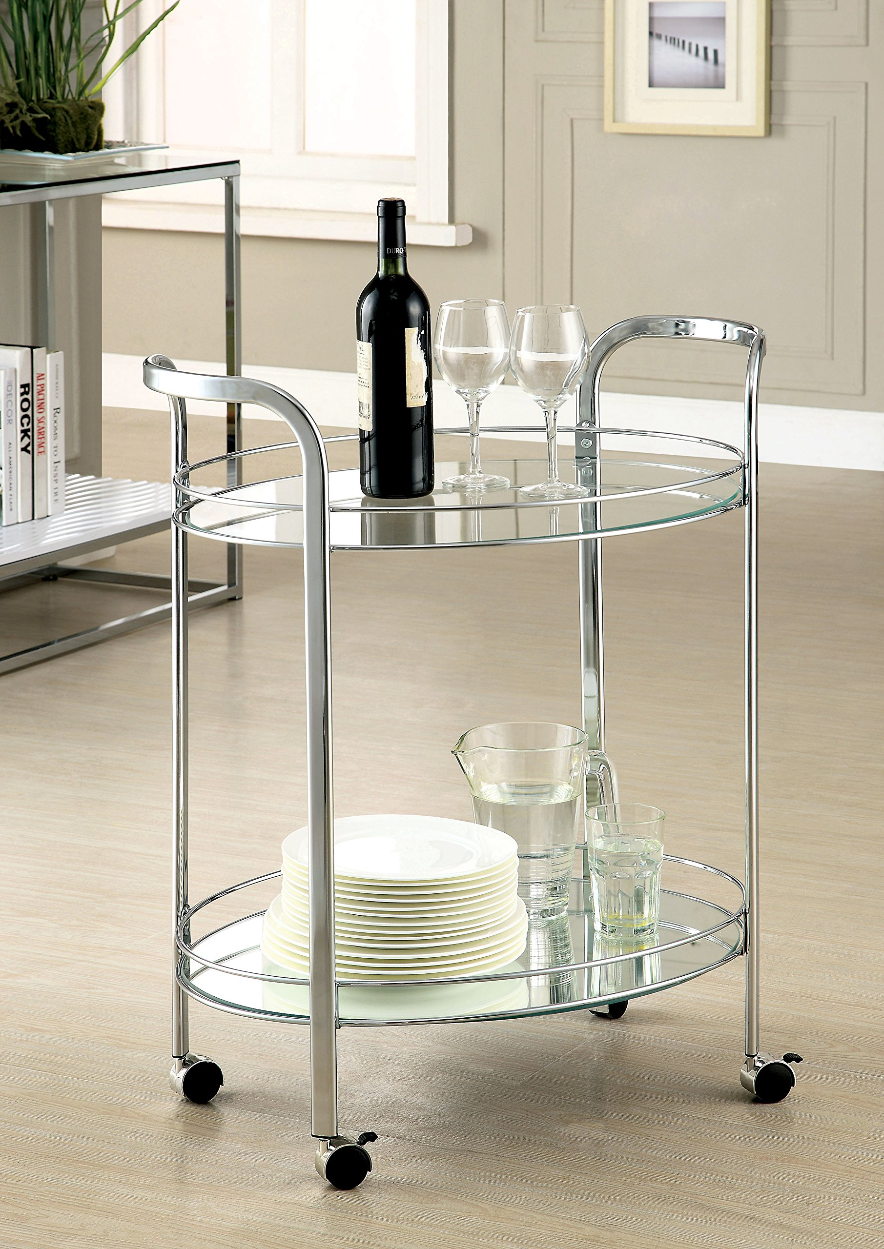 Furniture of America Manille Contemporary Serving Cart, Chrome
