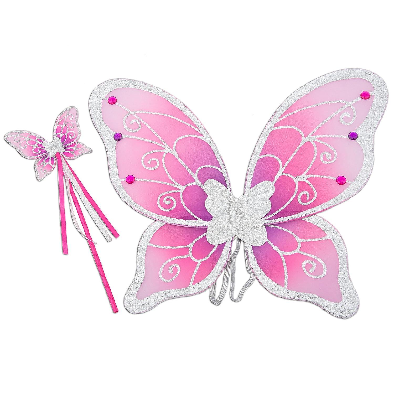 Glitzer Elfen Flügel mit Zauberstab - Feen Kostüm Kinder - Pink und Silber - Lucy Locket