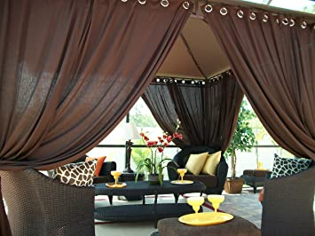 Includes (2) Panels Indoor/Outdoor Gazebo Patio Drapes Rich Brown (