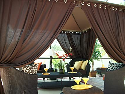 Ordinaire Includes (2) Panels Indoor/Outdoor Gazebo Patio Drapes Rich Brown (