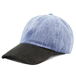 The Hat Depot Unisex Washed Low Profile Denim with Suede Bill Baseball Cap (Lt. Denim with Black Suede)