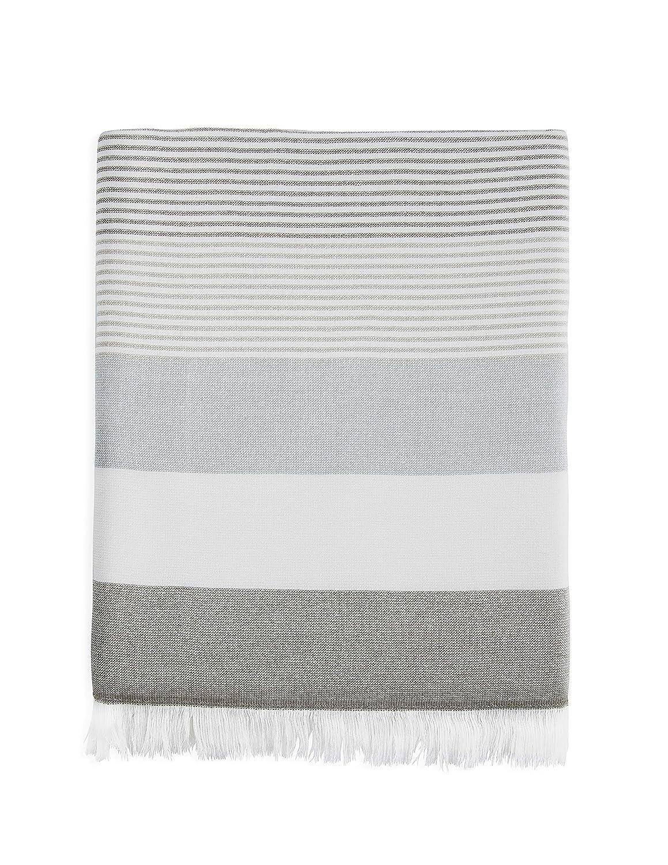 AQUABORA Bahama Gray Turkish Towel One Side Terry Bath and Beach Towel/%100 Cotton Peshtemal /…