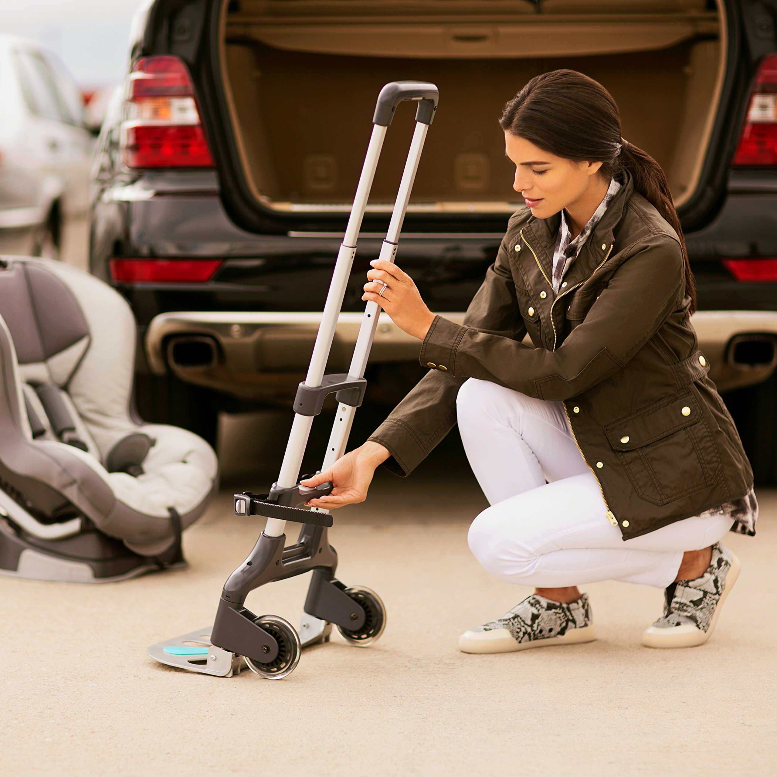 Brica Smart Move Car Seat Travel Cart, Airport Transporter, Grey by Munchkin (Image #4)