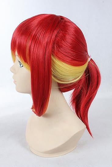 Cosplay peluca roja Blonde Mix peluca larga Rojo Rubio Mix acodado peluca Jump Plaza Pelucas: Amazon.es: Ropa y accesorios