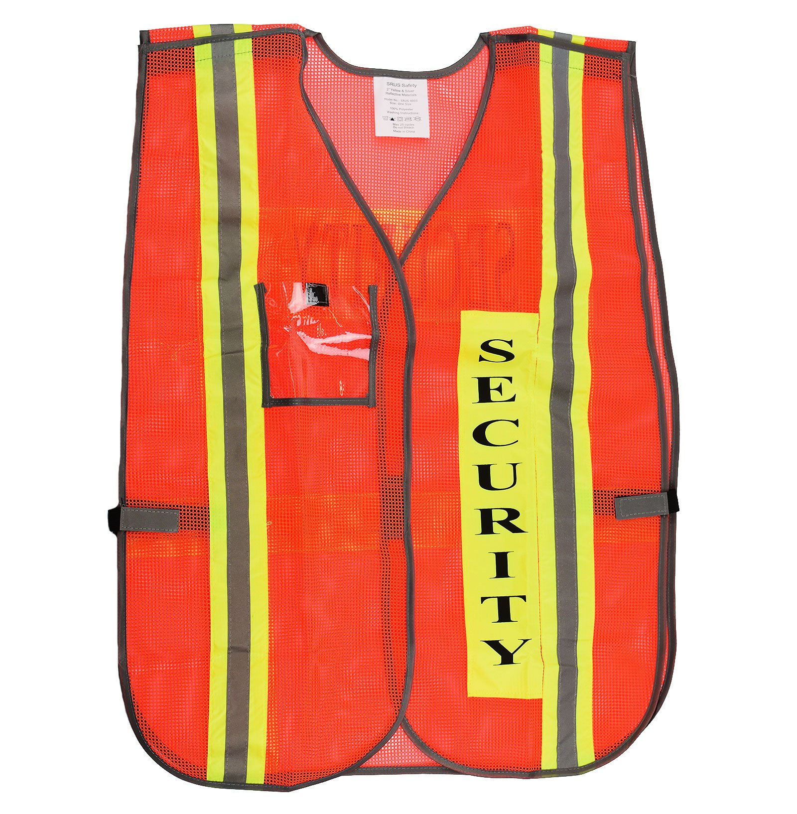 (Box Deal) 8003, Security Safety Vest with Reflective Strips, One Size Fits All (50-Pack, Neon Orange)