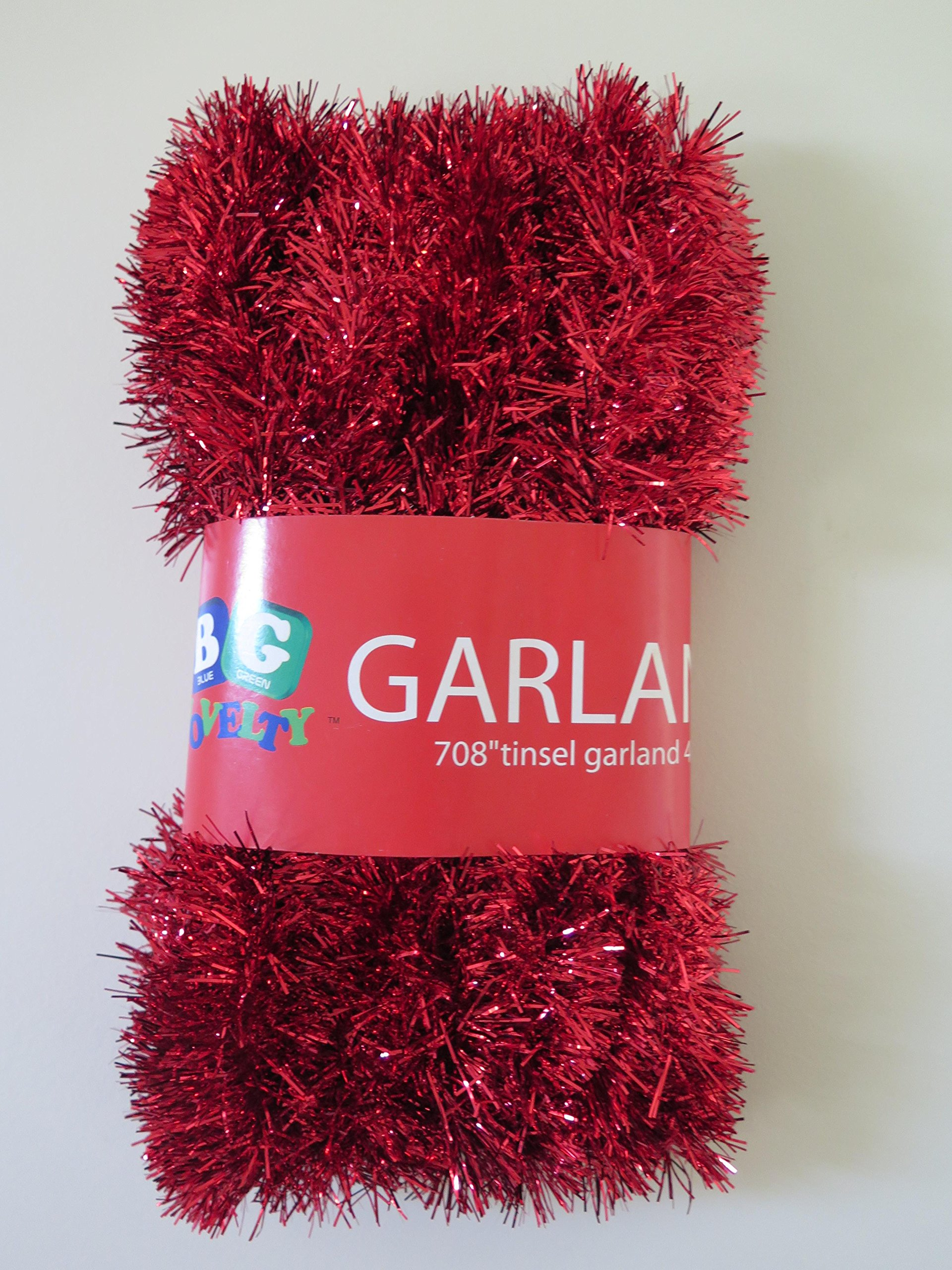 Red Foil Tinsel Christmas Garland 708'' (59 Feet) By Blue Green Novelty