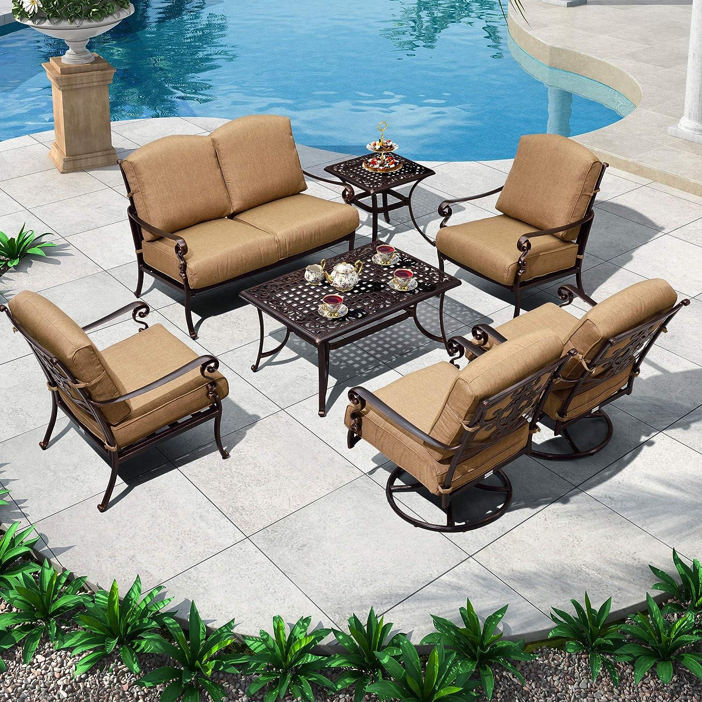 PURPLE LEAF 7PCS PatioConversationSets Powder Coated Cast Aluminum Outdoor Patio Furniture Set, Swivel Single Sofas, Cushions Included, Beige