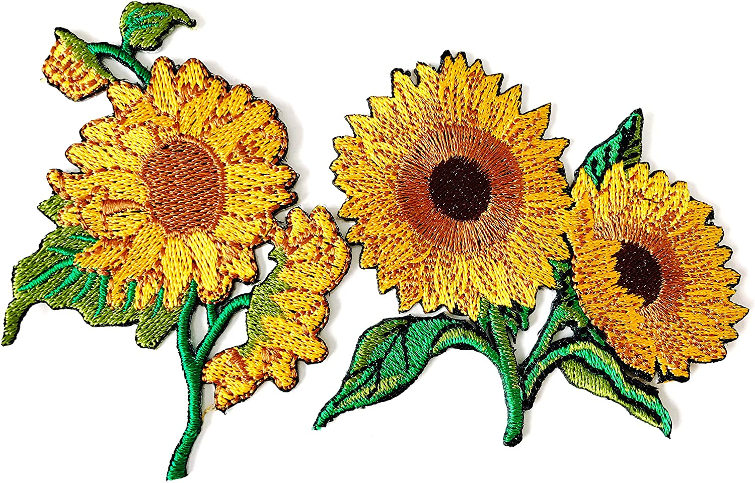 TH Set 2 pcs. Sunflower Garden Plant Sunflower Flower Granny Chic Retro Boho Embroidered Applique Sew Iron on Patch for Hat Jackets Bags Jeans T-Shirt Backpacks Costume