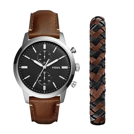 Fossil Reloj Cronógrafo para Hombre de Cuarzo con Correa en Cuero FS5394SET: Amazon.es: Relojes