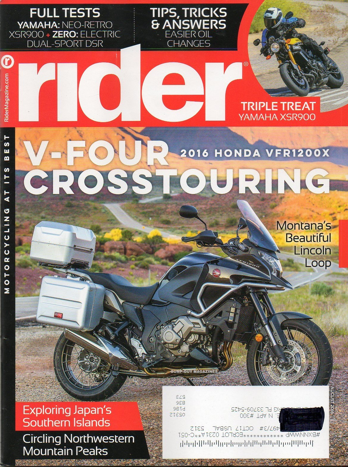 Read Online Rider 2016 Magazine Motorcycling At It's Best TRIPLE THREAT YAMAHA XSR900 Electric Ride: The Zero DSR PDF