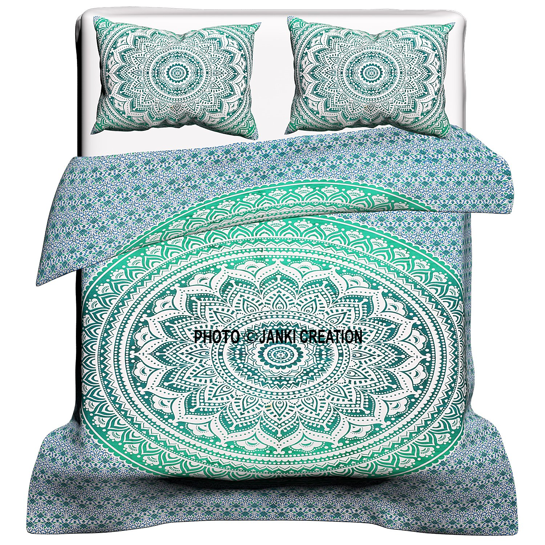 Indian Mandala Duvet Cover, Queen size Blanket, Quilt Cover, Bedspread Bedding, Comforter Cover, Ombre Mandala Duvet Cover , King Size Indian Green Ombre Mandala Duvet Cover, Hippie Wall Hanging,