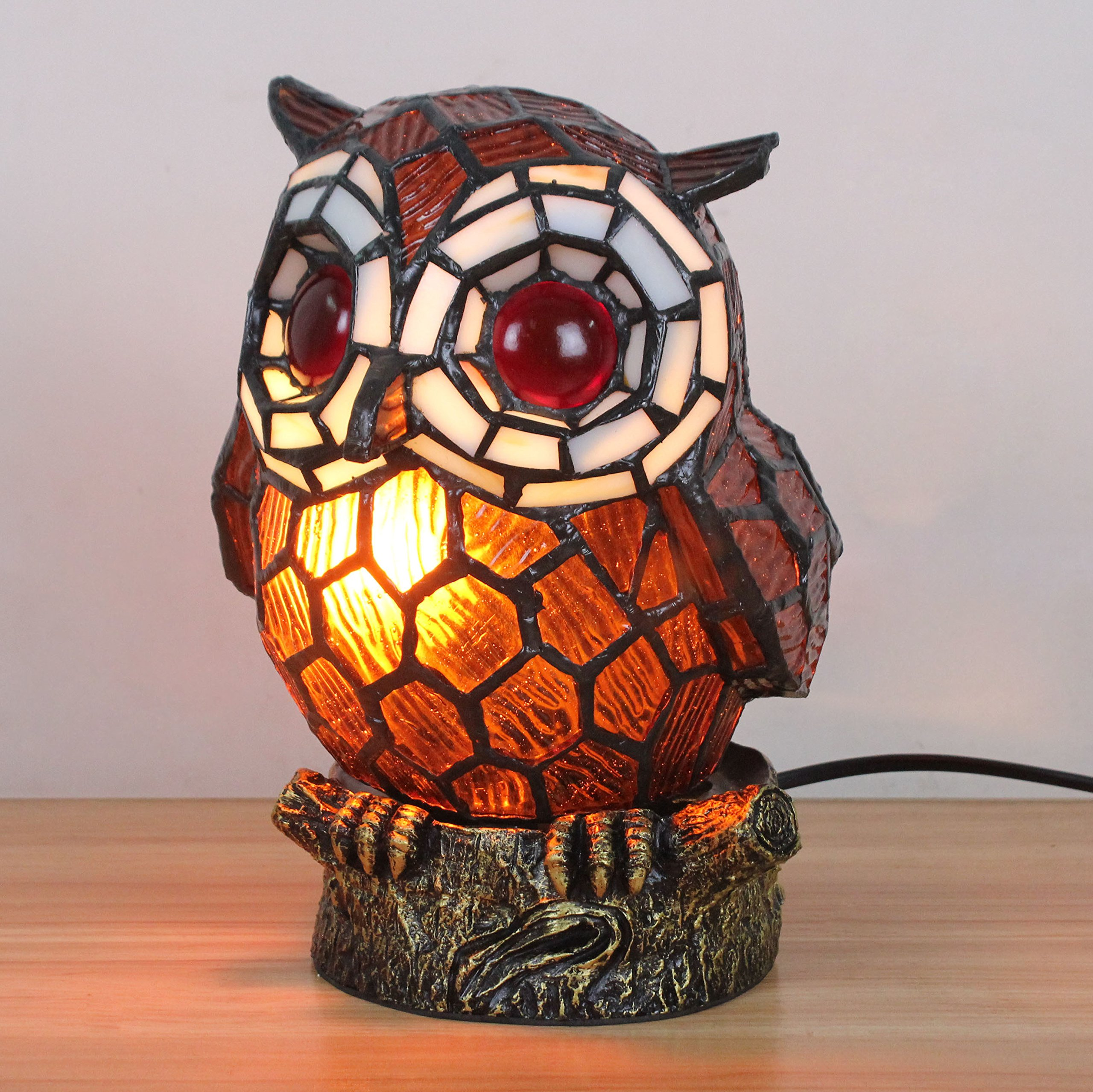 Royal-Tiffany Style Lovely Creative Coffee Owl Table Lamp Children's Lamp Night Light