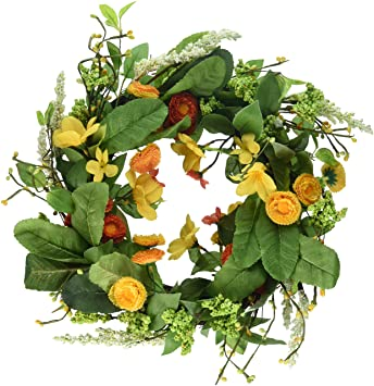 amazon com dii decorative leaves flowers 16 summer wreath for